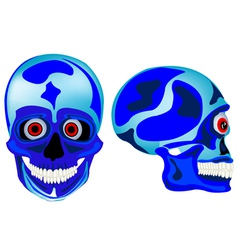 Cartoon skull of the person in front and profile vector