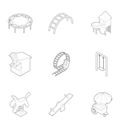 Children entertainment icons set outline style vector image vector image