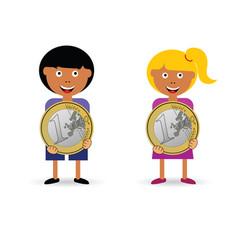 Children holding euro coin vector