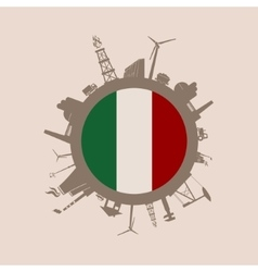 Circle with industrial silhouettes Italy flag vector image