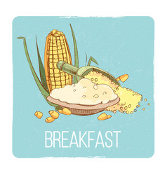Corn porridge breakfast card - gluten free vector
