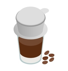 Cup of coffee icon isometric 3d style vector