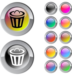 Dustbin multicolor round button vector image