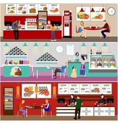 Fast food restaurant interior vector