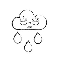 Figure kawaii nice happy cloud raining vector