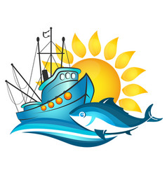 fishing boat and sun vector image vector image