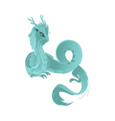 Flat blue colored dragon with wings horns vector