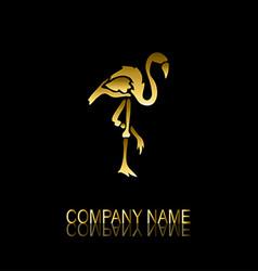 golden flamingo symbol vector image vector image