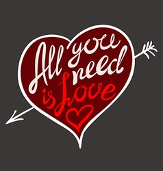 Hand drawn all your need is love hand lettering vector