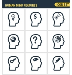 Icons set premium quality of human mind features vector