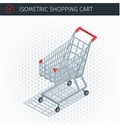 Isometric empty shopping cart vector