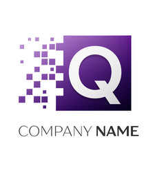 letter q logo symbol in the colorful square with vector image