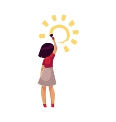 Little girl standing and drawing sun on the wall vector