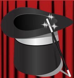 Magic hat and magic wand vector
