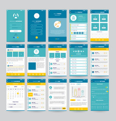 Mobile screens with ui set vector