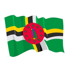 Political waving flag of dominica vector