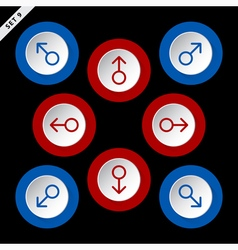 red and blue arrows in eight directions vector image vector image