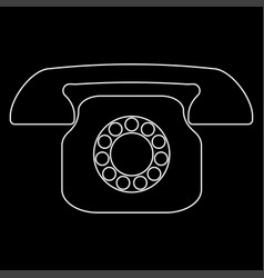 Retro telephone white color path icon vector