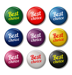 Round buttons with text best choice vector