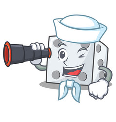 Sailor with binocular dice character cartoon style vector