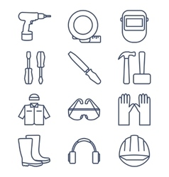 Set of line icons for diy tools and work clothes vector