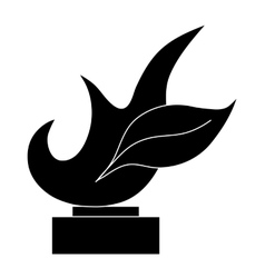 Trophy sign with flame icon black simple style vector