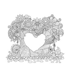 two trees bend over in hearted shape vector image vector image