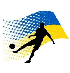 ukraine soccer player against national flag vector image vector image