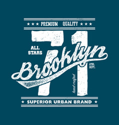vintage brooklyn typography t-shirt graphics vector image