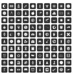 100 astronomy icons set black vector