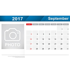 Year 2017 September month simple and clear design vector image