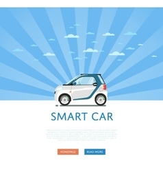 Compact white smart car vector