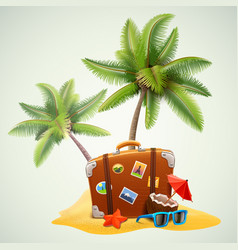 Travel suitcase on beach with palms vector
