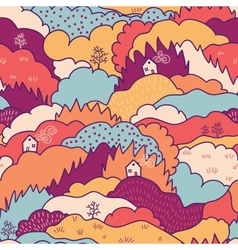 Fall landscape seamless pattern background vector image