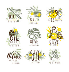 Olive oil set for label design organic natural vector
