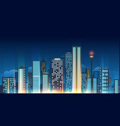 Night city skyline vector