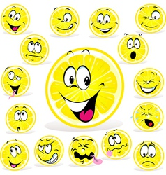 lemon cartoon with many expressions vector image