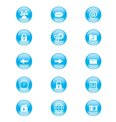 Set of blue and white circular buttons vector