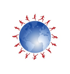 Red runners around the world vector