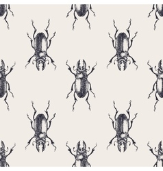 Beetles vintage seamless pattern vector