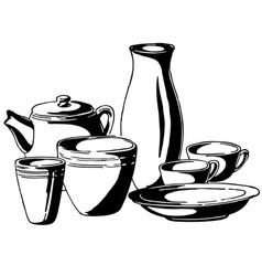dishes vector image