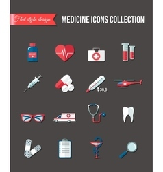 Set of medicine healthcare flat icons thermometer vector
