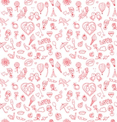 Valentines day or wedding seamless doodle pattern vector