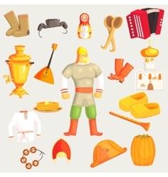 Classic russian culture symbols set vector