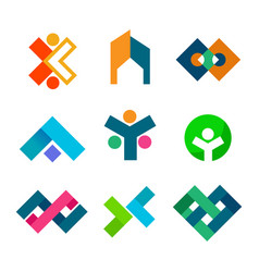 abstract corporate block symbol design set vector image