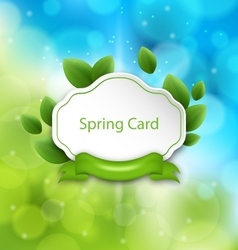Abstract Spring Card with Eco Green Leaves and vector image