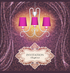 background with curtains and a chandelier with vector image vector image