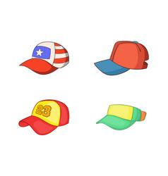 baseball cap icon set cartoon style vector image