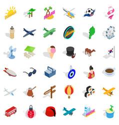 beach icons set isometric style vector image