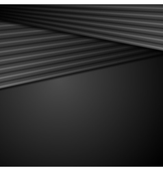 Black abstract tech background with smooth stripes vector